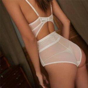 Image 4 - Fransız marka seksi dantel iç çamaşırı Bodycon Hollow kadınlar süper Push Up sütyen seti yaz Ultrathin şeffaf Onesies iç çamaşırı setleri