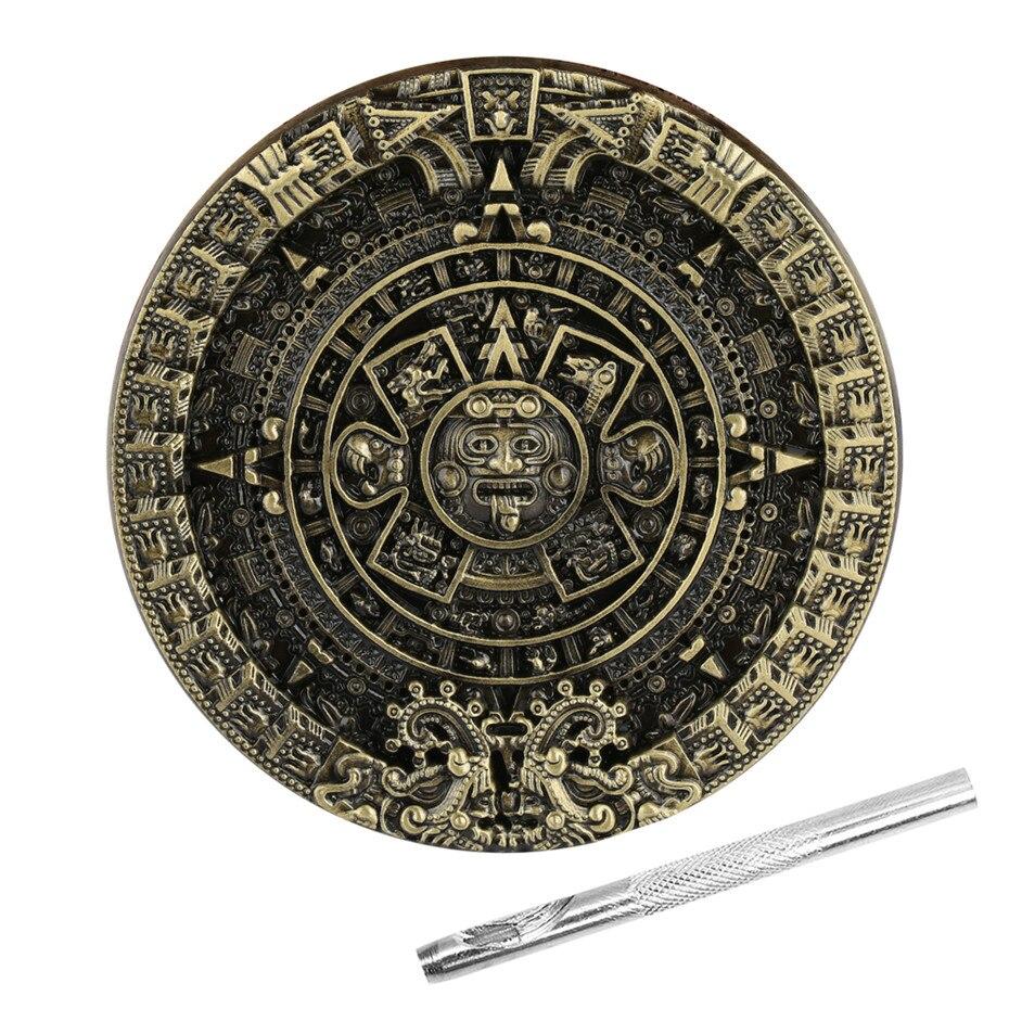 Bronze Metal Men Belt Buckles Aztec Calendar Belt Buckle Zinc Alloy Buckles Replacement Item With Belt Punch Tool