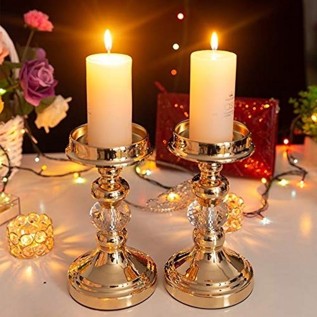 Pair pillar candle holders tealigh