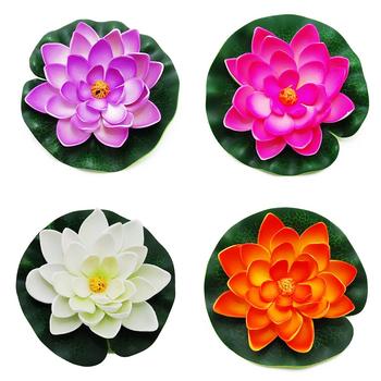4 sztuk sztuczne lilie wodne z pianki kwiat lotosu staw oczko wodne Decor dla na zewnątrz staw oczko wodne Patio ogród basen symulacja lotosu dekoracja rzemieślnicza tanie i dobre opinie CN (pochodzenie) Artificial Decorations Sztuczne kwiaty Lotus Główka kwiata wielkanoc Z tworzywa sztucznego Artificial Lotus