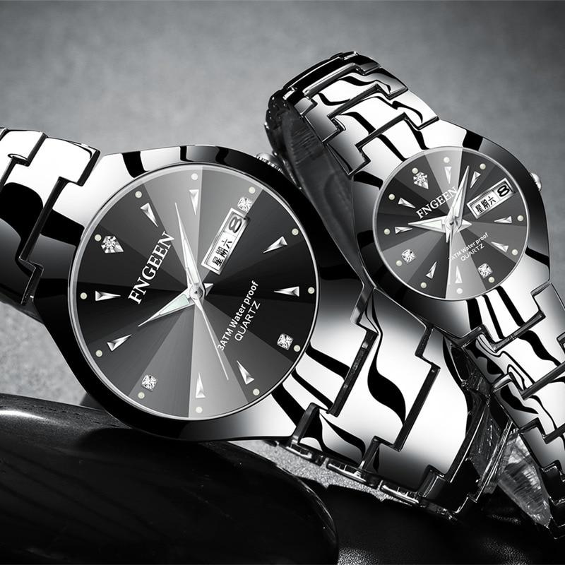 FNGEEN Watch Christmas Couple Stainless Steel Luxury Womens Watch Waterproof Quartz Wristwatch For Lovers Relogio Feminino Saati
