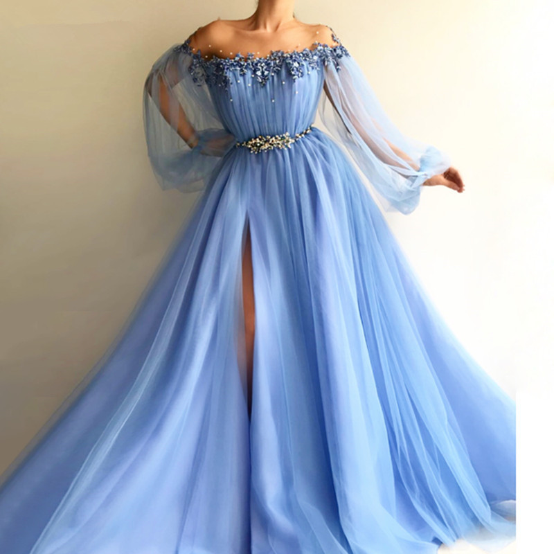 Sky Blue 2019 Muslim   Evening     Dresses   A-line Long Sleeves Tulle Appliques Pearls Slit Dubai Saudi Arabic Long   Evening   Gown Prom