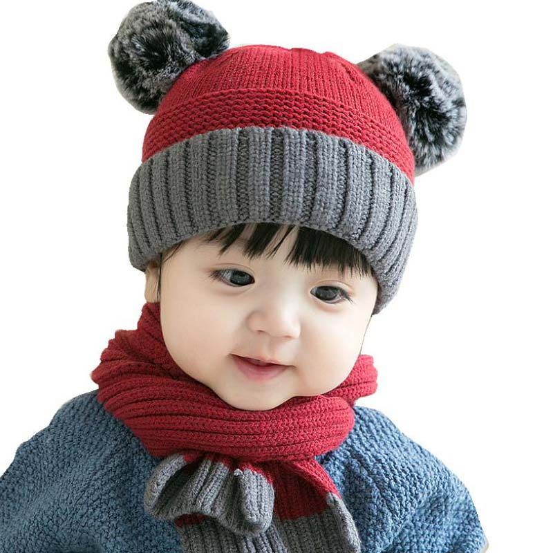 Doitbest 8 Months To 3 Years Old Kids Beanie Double Balls Kid Boys Knit Hats Set Winter 2 Pcs Baby Girls Winter Hat Scarf Sets
