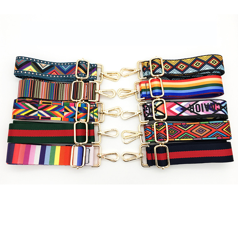 80-145cm Nylon Strap Women Bohemian Print Multi Color Adjustable Replacement Bag Belt Handbag Strap Bag Shoulder Strap
