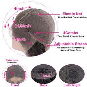 Image 5 - 13x4 dantel ön İnsan saç peruk ön koparıp Remy brezilyalı düz 4x4 kapatma peruk kadınlar için bebek saç 180% yoğunluklu 30 inç