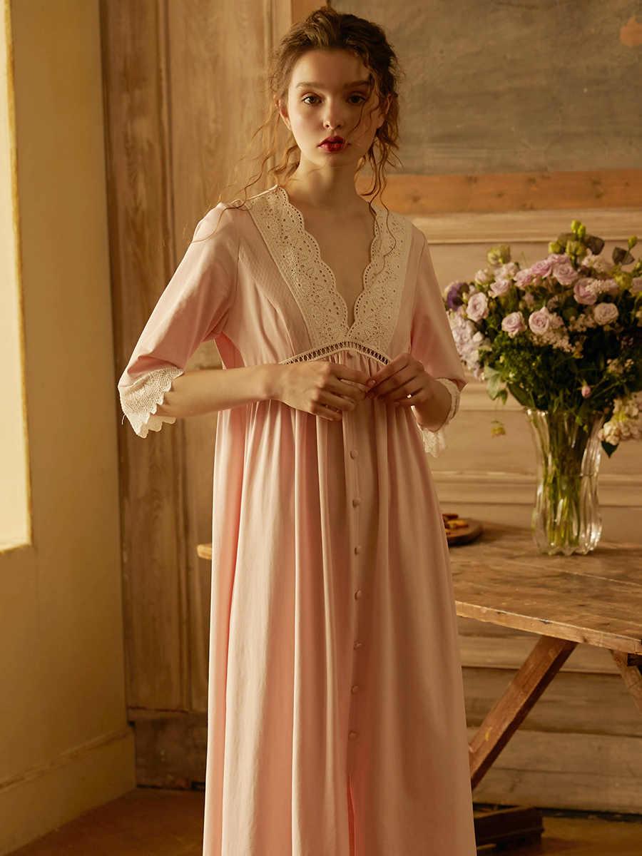 Vintage Prinzessin Rosa Baumwolle Lange Nachthemden Für Frauen Sexy V-ausschnitt Halbe Hülse Nacht Hemd Lose Spitze Nachthemd Plus Größe