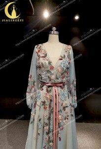 Image 5 - Rijn real Pictures Marchesa Lange Mouwen V hals Kleurrijke Kralen Formele jurken arabisch avondjurken lange