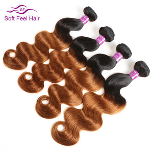Image 3 - רך מרגיש שיער 1/3/4 Pcs Ombre ברזילאי שיער גוף גל חבילות T1B/30 Ombre שיער טבעי Weave חבילות חום רמי שיער הרחבות