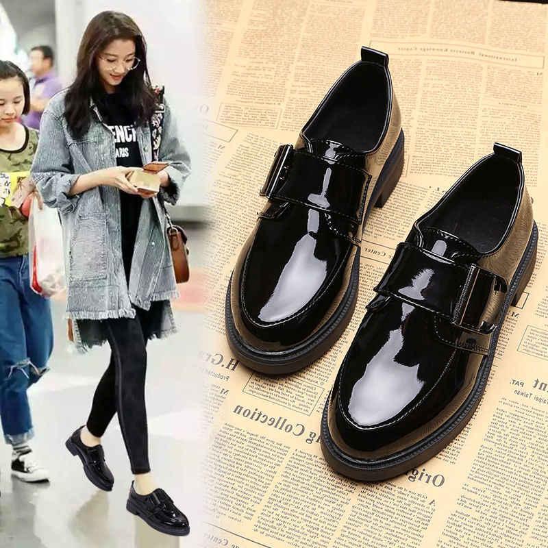 Kadın ayakkabı sonbahar rahat Patent deri düşük topuklu kanca döngü ayakkabı pompaları kadın kalın topuk kadın moda makosen ayakkabılar 2020