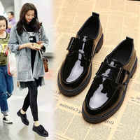 Spring Women Casual Shoes Loafers Patent Leather Low Heels Pumps Hook Loop Footwear Female Thick Heel Shoes Women Fashion New