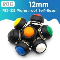 Botón de encendido y apagado momentáneo impermeable, 12mm, PBS-33B, Mini Interruptor redondo