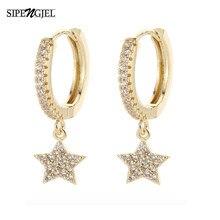 Boucles d'oreilles en zircon cubique brillant, étoile et lune, bonne qualité, bijoux pour femmes et filles, nouvelle mode