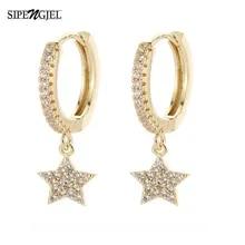 Moon Earrings Girls Jewelry Cubic-Zircon Star Shiny Femme Women New-Fashion Oreille And