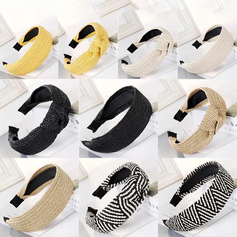 Women's Hairbands Natural Raffia Straw Handmade Headband Twist Knot Wide Headwear Vacation Style Hair Band 2019 Hair Accessories