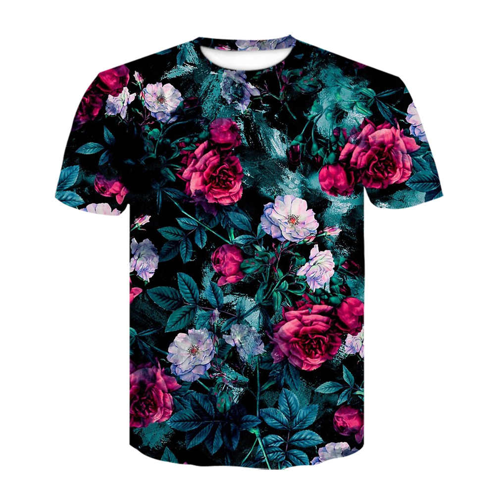 Harajuku Hiphop T-shirt Fashion Rose Bloemen 3D Print Shirt Mannen Romantische Ontwerp Korte Mouw Casual Bloemenprint Guns t-shirt