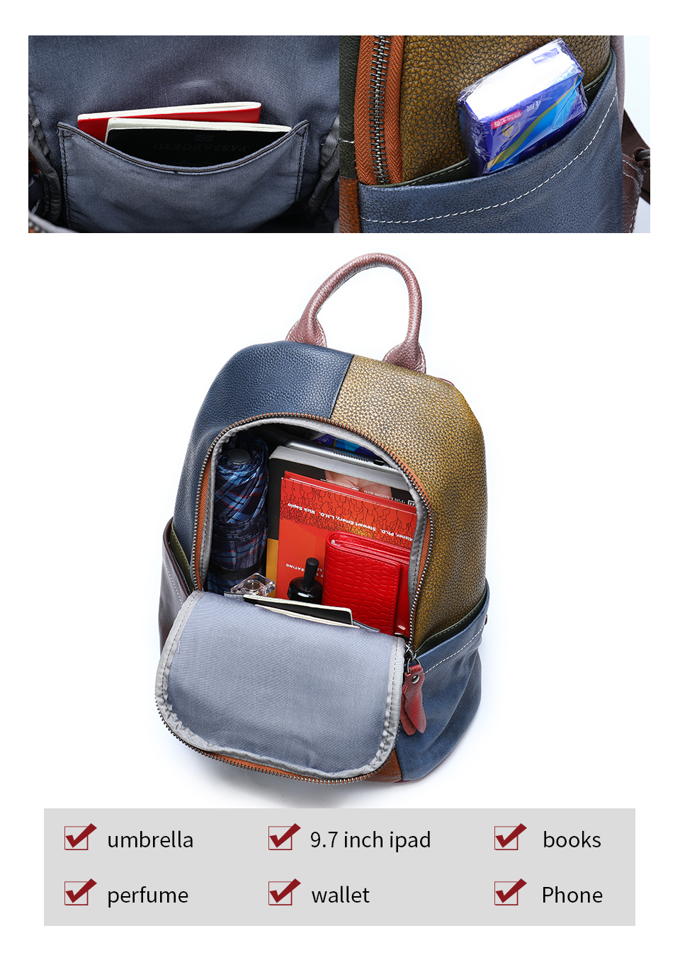 Women's Backpack Genuine Leather Vintage Patchwork