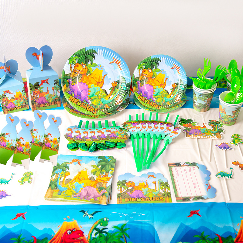 Hot Sale Disposable Tableware Birthday Party Decor Supplies Cup/Plates/for Baby Child Shower New Dinosaur Theme Party Wholesale