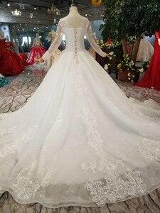 Image 2 - Простое свадебное платье BGW HT42911 для девочек, свадебные платья принцессы с круглым вырезом и длинными рукавами со шлейфом