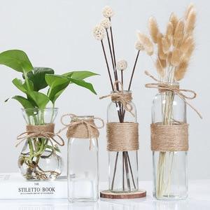 Image 3 - Jarrones de vidrio nórdico creativos decoración de mesa de sala de estar, transparente, agua, hidropónico, cuerda de flores, florero seco, botella Diy