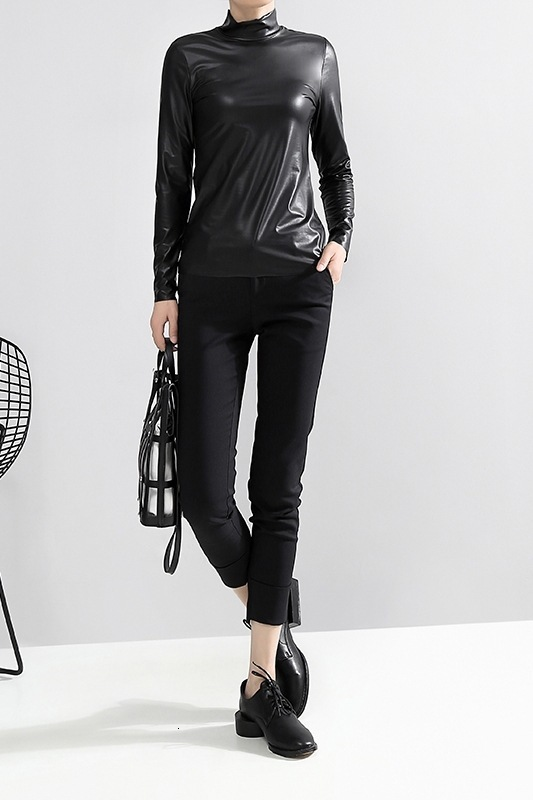 [EAM] Women Black Brief Pu Leather Temperament T-shirt New Stand Collar Long Sleeve  Fashion Tide  Spring Autumn 2020 JY93301 6