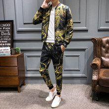 Menswear (jacket+pant) Fashion 6xl Luxury Gold Dragon Fall Tracksuit Men Designer Fancy Conjunto Deportivo Hombre Ensemble Homme(China)