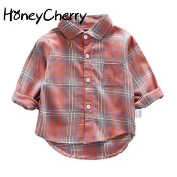 2020 w nowym stylu chłopięca koszula z długim rękawem dla dzieci koszula w kratę dziewczynka bluzka chłopięca koszula tanie i dobre opinie HoneyCherry CN (pochodzenie) Moda COTTON Pełna Pasuje prawda na wymiar weź swój normalny rozmiar JERSEY Unisex Drukuj