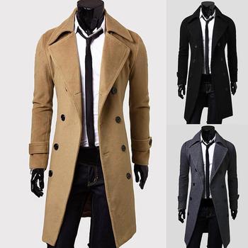 Casaco Fashion Casaco De Lã Homens Inverno Quente Sólido Longo Casaco Trench Breasted Business Casual Casaco Parka пальто мужское