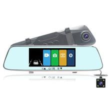 цена на 7 Touch Screen Backup Front/Rear Dual Dash Reversing Camera Driving Recorder