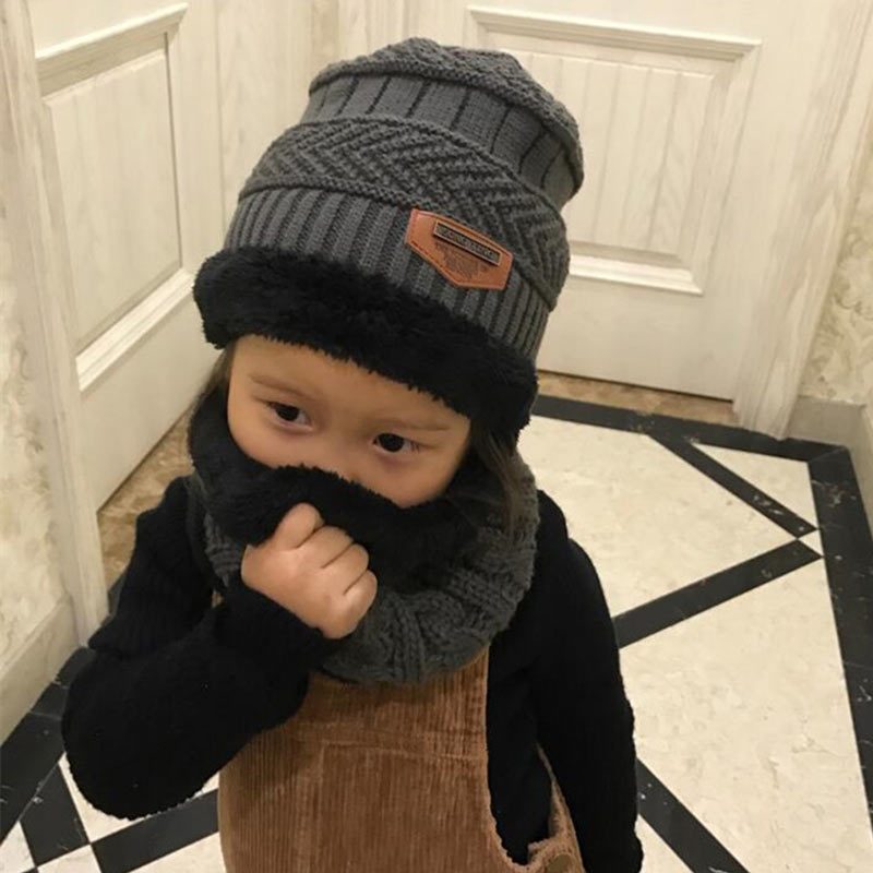 Boys And Girls Scarf And Hat Set 2 For 8 Years Thickened Wool Cap Keep Warm Children Winter Hat And Shawl Set