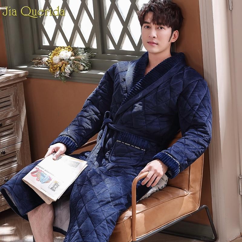 Men Robe Buy China Direct Winter Bathrobe Royal Blue 3 Layer Padded Embossing Belted Velvet Kimono Bath Robes Winter Home Wear