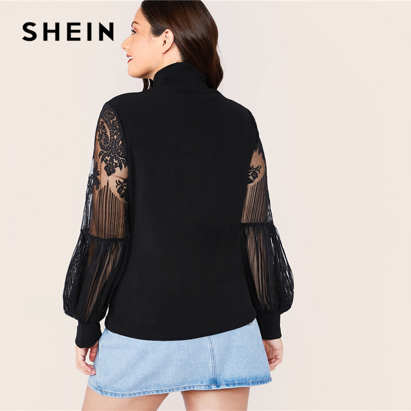 SHEIN Plus Size Black Mock Neck Lace Lantern Sleeve Fitted Top Women Autumn Solid Elegant Office Lady Womens Tops and Blouses 2