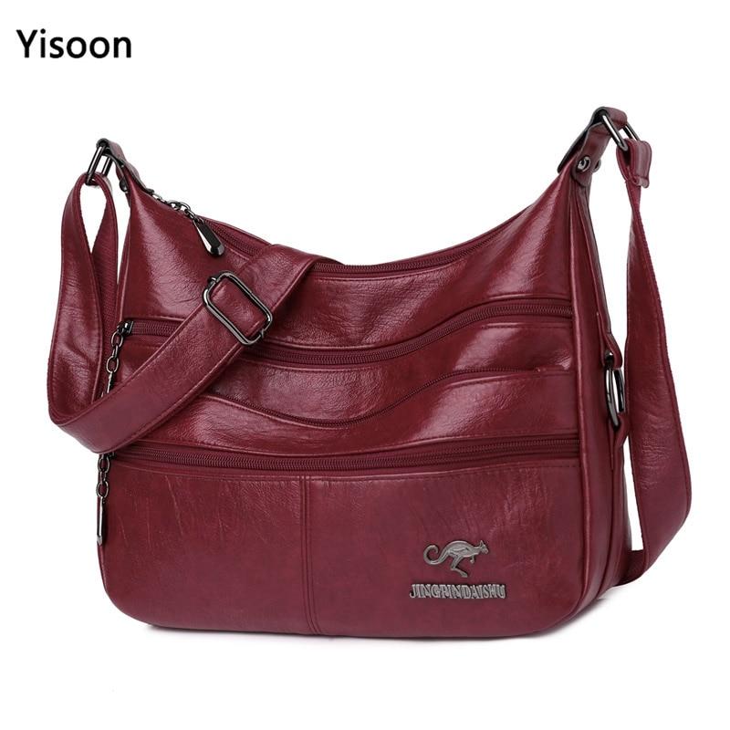 New Soft Leather Shoulder Bags for Women Large Designer Ladies Hobo Bag Bucket Purse Faux Leather Vintage Bag Casual Female