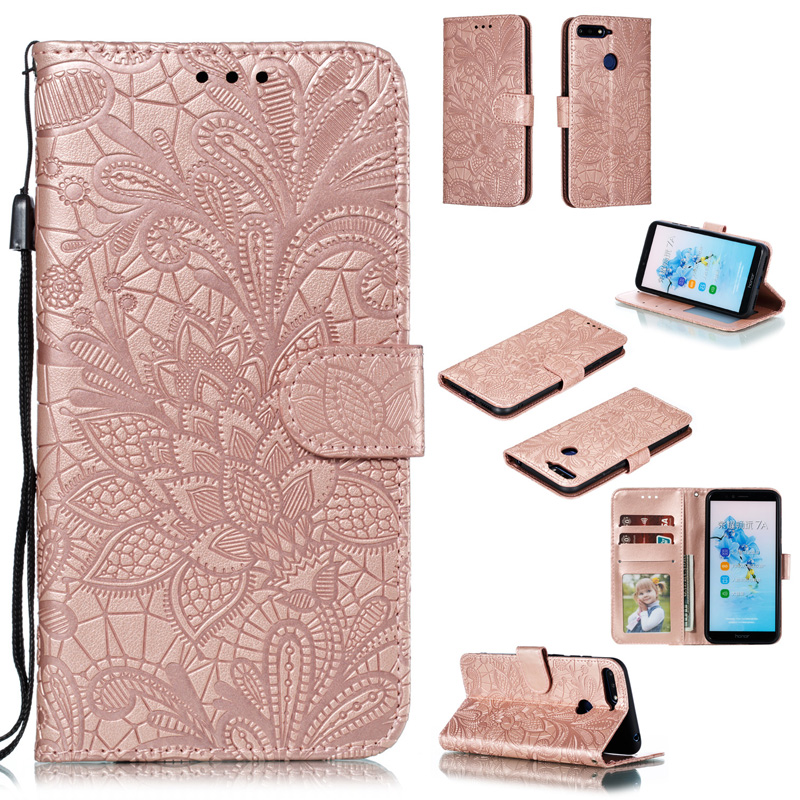 Lace Flower Flip Leather Case For Huawei <font><b>Honor</b></font> <font><b>7A</b></font> Pro AUM-L29 Cover <font><b>honor</b></font> 7S <font><b>DUA</b></font>-<font><b>L22</b></font> Case on 7C AUM-L41 Pro Magnetic Wallet Book image