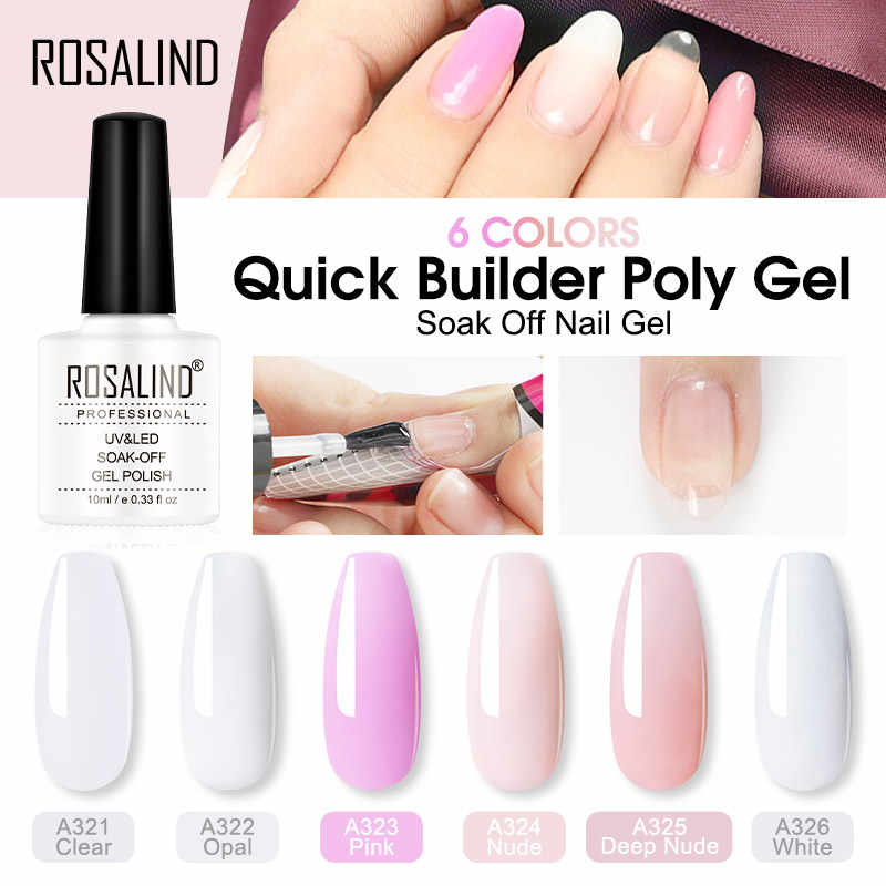 ROSALIND Poly Pour L'extension des Ongles Gel 10ml Semi Permanent Vernis À Ongles UV Ongles Art Poly constructeur Ensemble Gel Vernis polonais