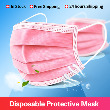 10-200Pcs Pink Disposable Face Mask Non-woven 3-Layer Mouth Mask Dust Protective Mask Filter Fabric Elastic Earband Mascarillas