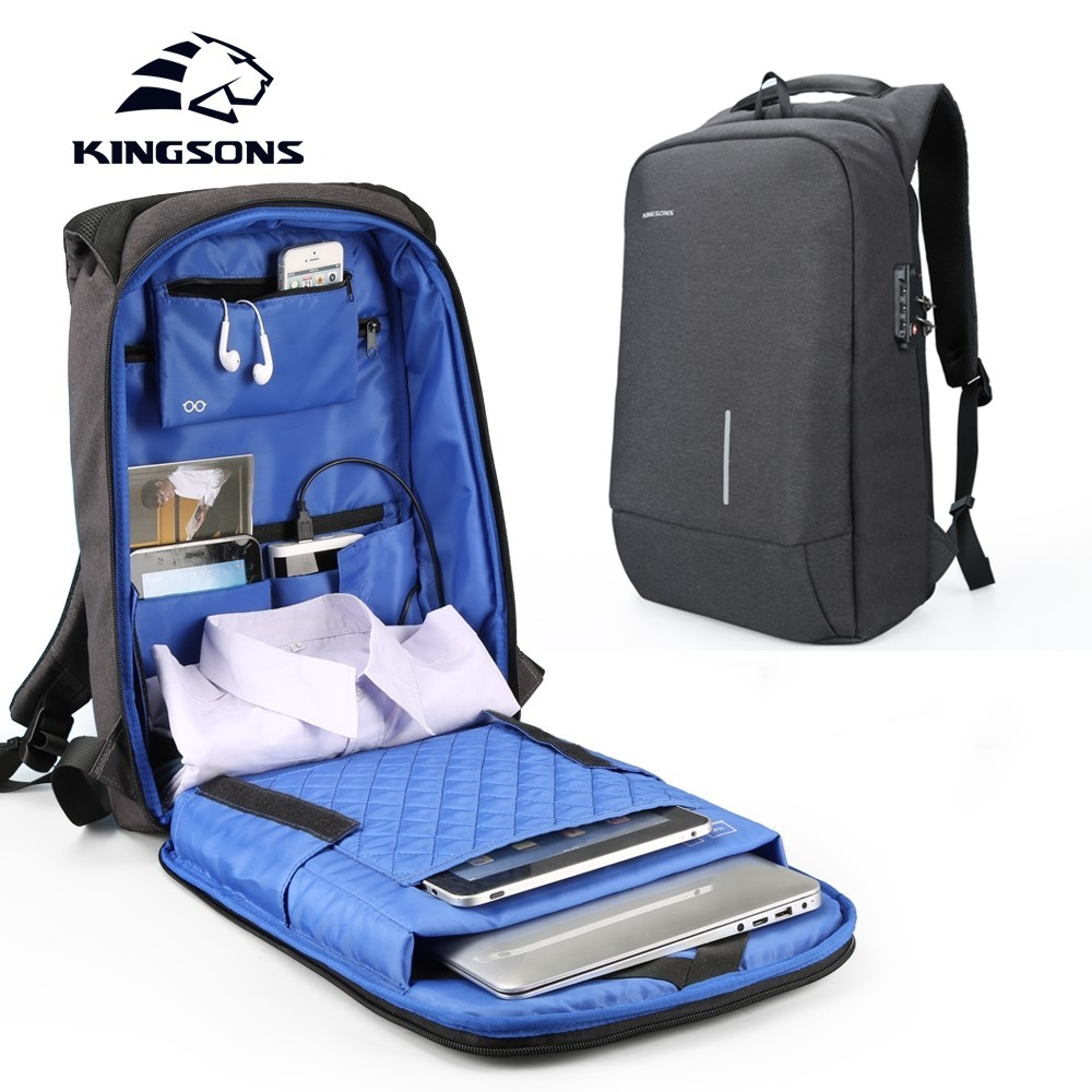 Kingsons 2018 New 13.3 15.6 Inches Laptop Backpacks Men Women Fashion Backpacks Anti-theft Lock Backpack Student School Bags