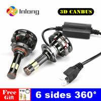 Inlong 2 sztuk H7 Led H4 z Canbus żarówki reflektorów samochodowych H11 LED H9 H8 HB3 9005 HB4 9006 lampy 6500K 12V 20000LM Auto Led światła przeciwmgielne