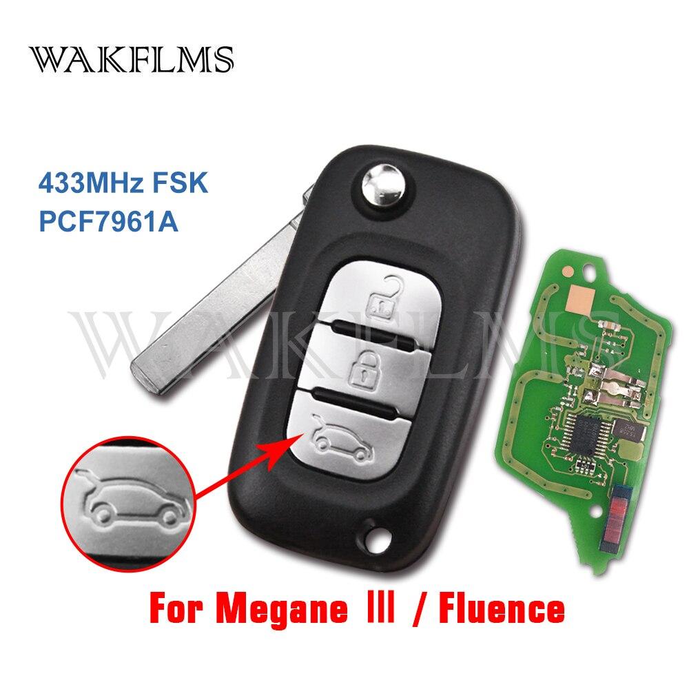 3 botões 433MHz PCF7961A Chip Auto Acessórios Substituição Filp Remoto Fob Chave Do Carro para Renault Fluence Megane III 2009