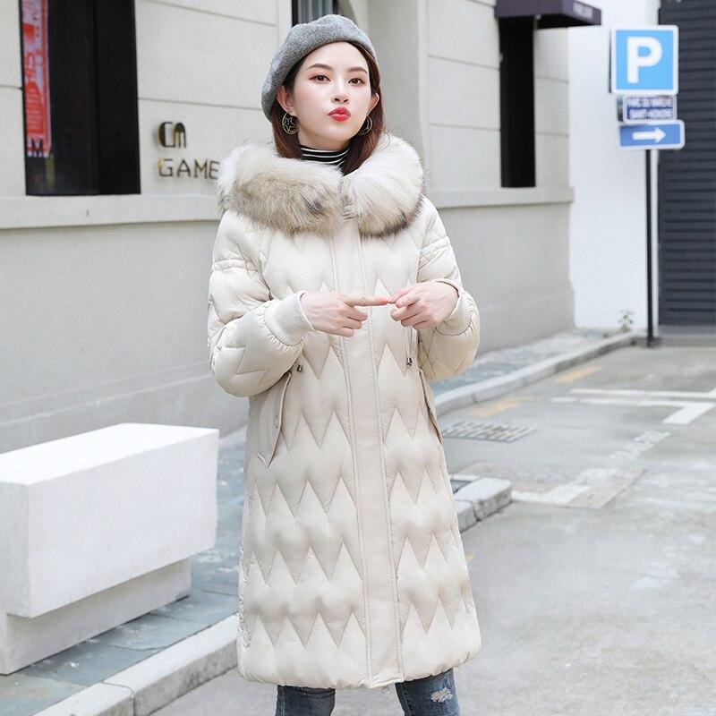 2019 Winter Women's Long Jacket Large Size 3XL 4XL Female Plus Size Parka Hooded With Fur Collar Cotton Down Jackets Autumn Coat