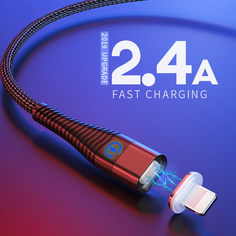 1m 2m Led Magnetic Usb Charger for iphone Cable for iPhone 11 Pro Max XR XS Cord iPad Usb Charging Cable to lighting Cable|Mobile Phone Cables|   - AliExpress