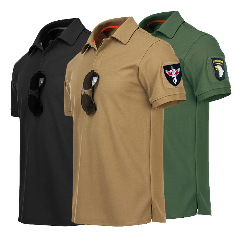 Men's Army Tactical Polo Shirt Military Style Short Sleeve Quick Dry Polo Summer Fashion Brand Casual Cotton Tee Shirt