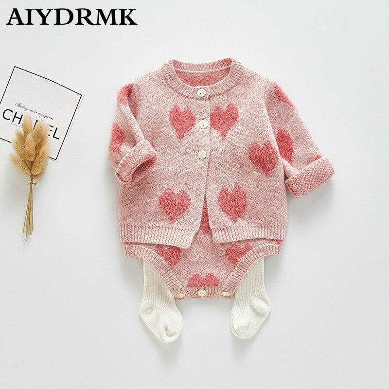 Рождественская Одежда для маленьких девочек; вязаная одежда для новорожденных; осенне-зимний хлопковый шерстяной комбинезон для маленьких...