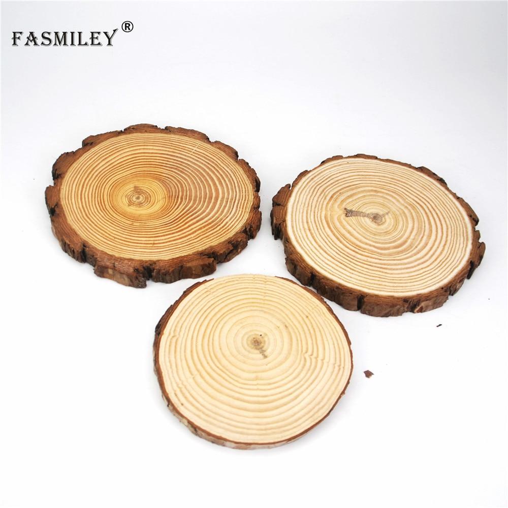 Grandes fatias de madeira redondas naturais círculos casca de árvore discos de registro diy artesanato festa de casamento pintura decoração 12-18cm 1 pçs wd03
