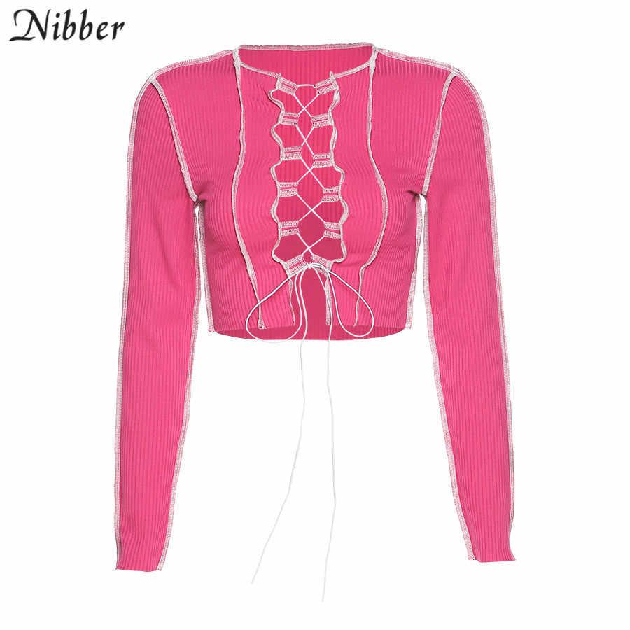 Nibber sexy hollow out bluzki bandażowe kobiety neon kolor prążkowany knitting tee shirt kobieta 2020 jesień klub party street odzież na co dzień