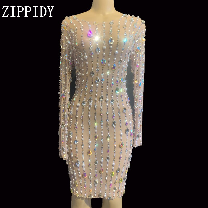 New Design Rhinestones Pearls Mesh Dress Birthday Celebrate Stretch Dress See Through Outfit Singer Prom Party Performance