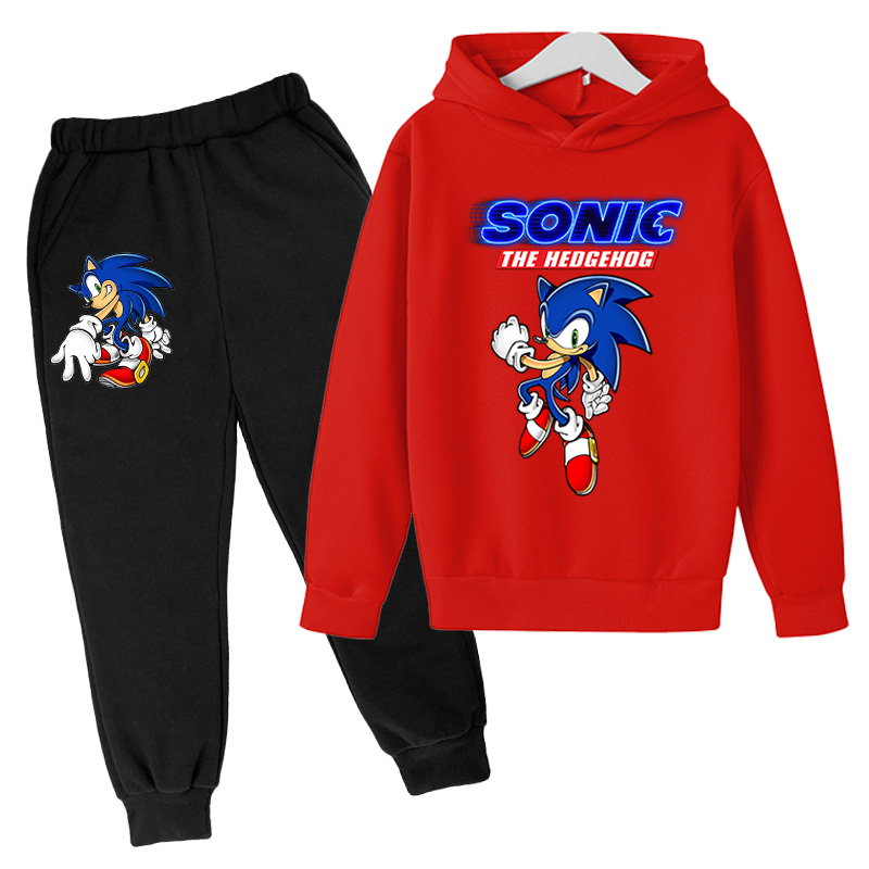 2021Big Boys anime Clothing Suit Anime Sonic the Hedg Tracksuit Kids Hoodie Pants 2pcs Sets Baby Girl Christmas Outfit 3