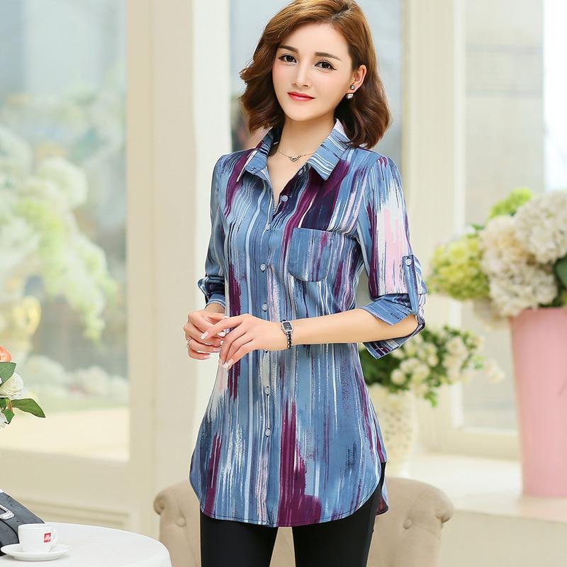 Long Sleeve Women Blouses 2019 Autumn New Office Blouse Loose Casual Tops Plus Size 5XL Ladies Print Shirt Women Fashion Clothes