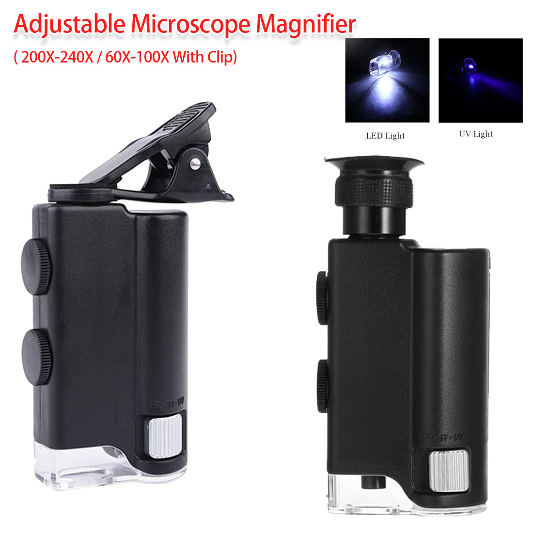 Mini Handheld 60-100X/ 200-240X Adjustable Pocket Microscope Magnifer Loupe Magnification For Archeology/ Jade Articles/ Jewelry