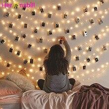 Светодиодная гирлянда с прищепками для фотографий, украшение для дома, спальни, улицы, свадьбы, дня рождения, 2 м, 5 м, 10 м, 20 м