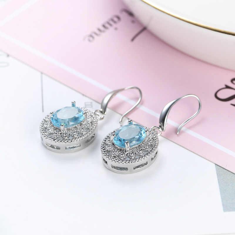 Gorąca sprzedaż 925 Sterling Silver okrągły Cut CZ wisiorek naszyjnik + Eararings dla kobiet obojczyk Choker biżuteria damska zestaw Collares
